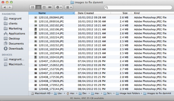 screen grab of file names after processing with first script