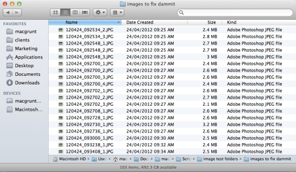 screen grab of filenames using final script