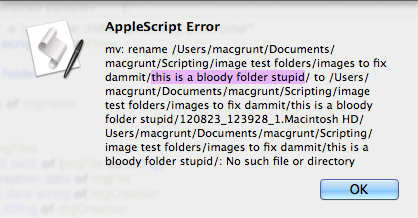 screen grab of error message if script encounters a folder