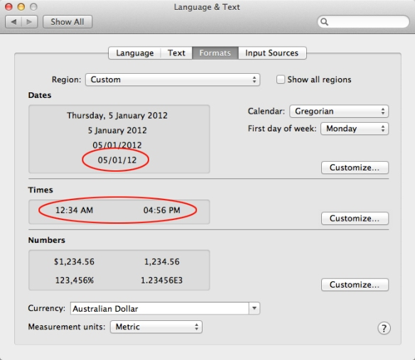 screen grab showing language and text system preferences window