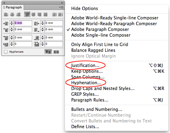 screen grab of paragraph panel and dropdown menu