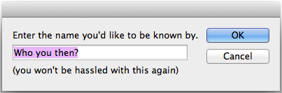 screen grab of user dialog