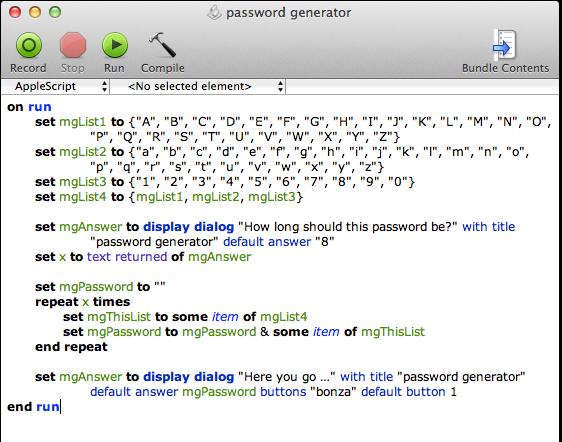 screen grab of password generator complete script