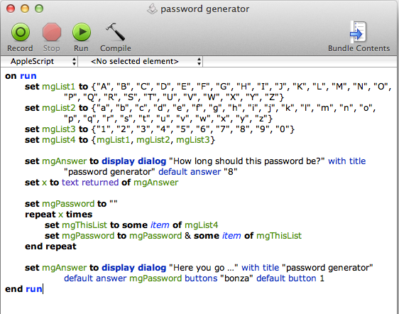 screen grab of password generator complete script