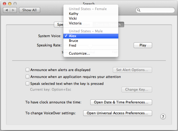 screen grab of speech preferences