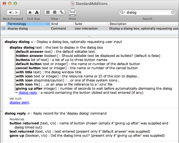 screen grab of dialog entry in standard additions dictionary