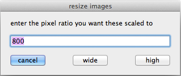 screen grab of resize images script dialog