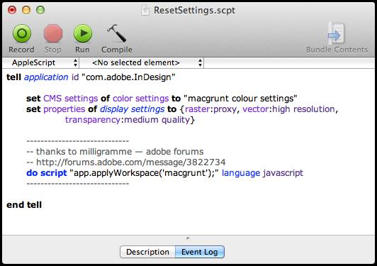 screen grab of reset settings script