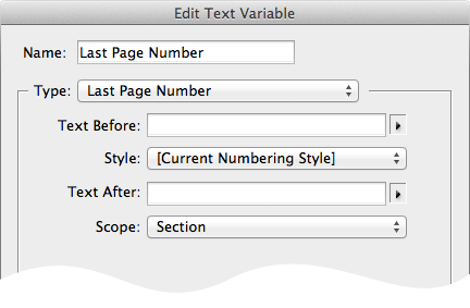 screen grab of last page number text variable options