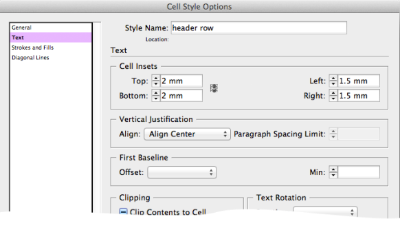 screen grab showing cell style options for the header row style