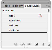screen grab of new styles in cell styles panel