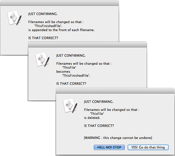 screen grab of three confirmation dialog windows