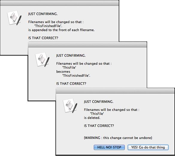 screen grab of three confirmation dialog windows