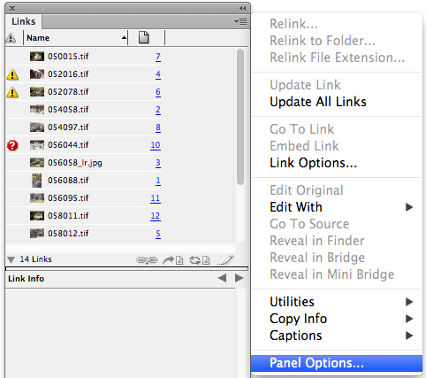 links panel dropdown