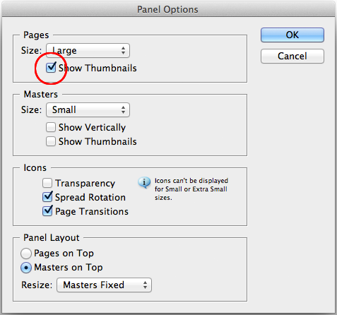 pages panel options dialog
